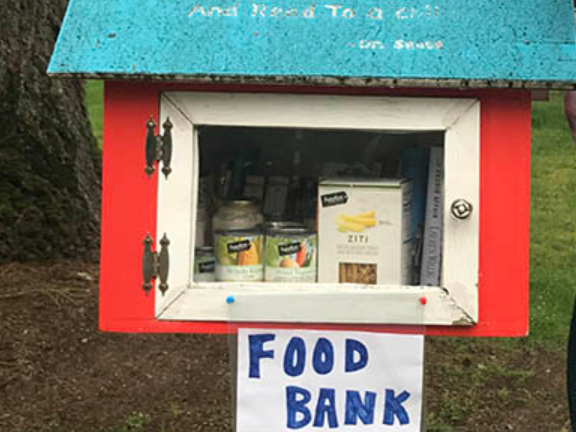 Little Free Food Pantry kiosk at Bloomfield Public Library